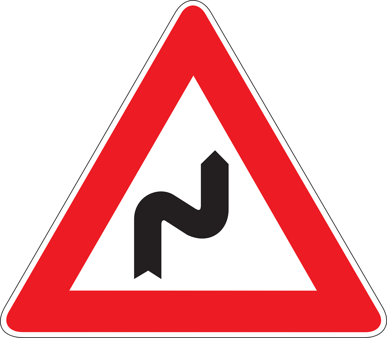 Bend in road sign