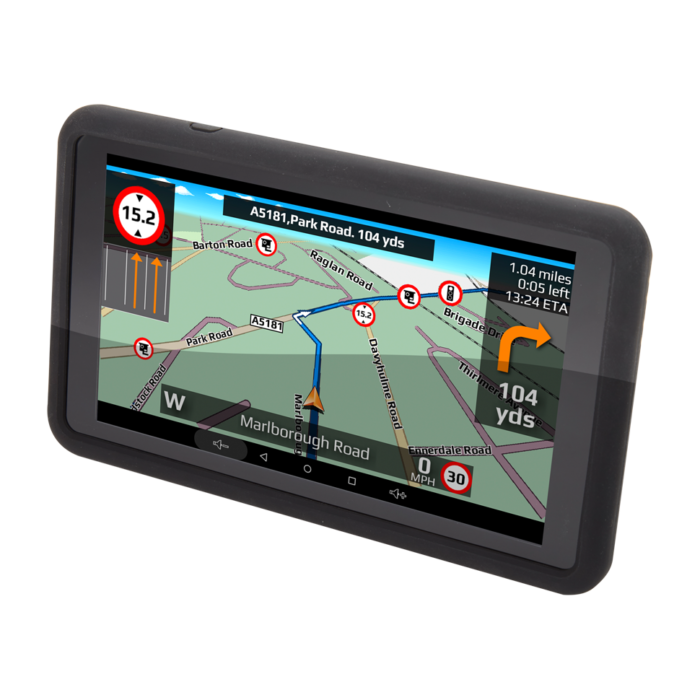 TX720 deluxe truck sat nav angled screen view