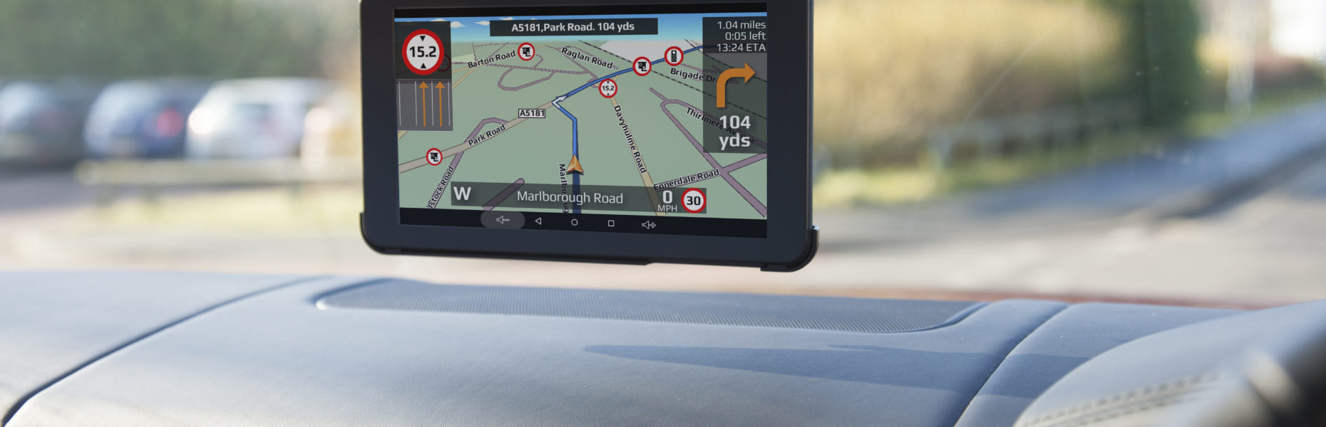 sat nav showing in care height restriction