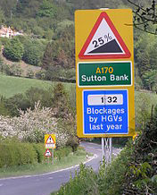 Sutton bank steep hill sign
