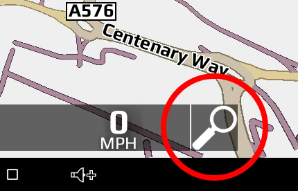 quick search icon on sat nav