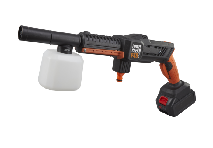 a picture of the Aguri power clean P40 max cordless washer with a soap gun