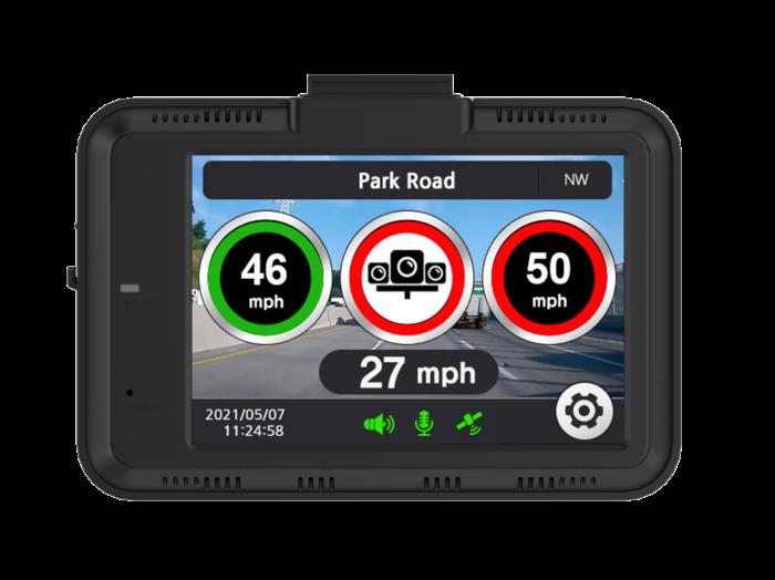 the Aguri DX4000 Drive Assist showing a speed camera alert