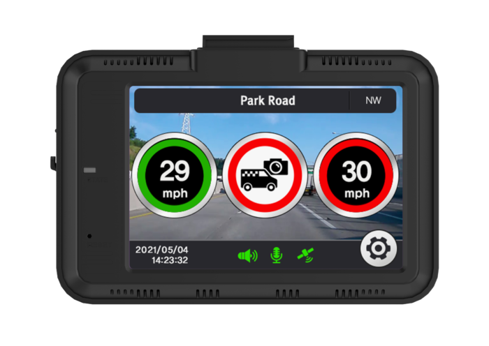 the Aguri DX4000 Drive Assist showing a speed trap detection alert